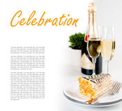 Champagne in glasses and a dessert Royalty Free Stock Photo