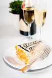 Champagne in glasses and a dessert Royalty Free Stock Image