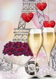 Champagne glasses and Eiffel Tower background. Vector realistic romantic cards vector illustration