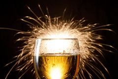 Champagne glasses with fire Royalty Free Stock Photo