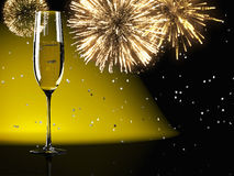 Champagne glasses with fireworks on background Royalty Free Stock Image