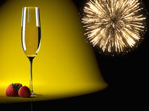 Champagne glasses with fireworks on background Stock Photos