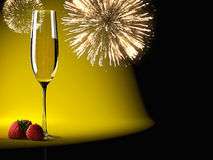 Champagne glasses with fireworks on background Stock Photography