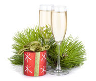 Champagne glasses, firtree and christmas decor Stock Photo