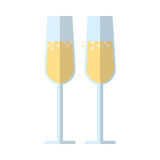 Champagne glasses flat icon, vector sign. Colorful pictogram isolated on white. Symbol, logo illustration. Flat style design Stock Photography