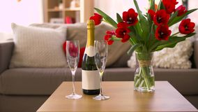 Champagne, glasses and flowers at valentines day. Valentines day, romantic date and holidays concept - bottle of champagne, two glasses and red tulip flowers on stock footage