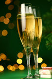 Champagne glasses and gift Royalty Free Stock Photo