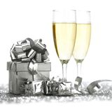 Champagne glasses and gifts Stock Photos