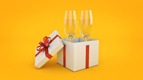 Champagne glasses and gifts ready to bring in the new year. 3d rendering Royalty Free Stock Photography