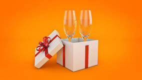 Champagne glasses and gifts ready to bring in the new year. 3d rendering Stock Image