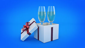 Champagne glasses and gifts ready to bring in the new year. 3d rendering Royalty Free Stock Images