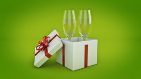 Champagne glasses and gifts ready to bring in the new year. 3d rendering Royalty Free Stock Photo
