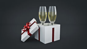 Champagne glasses and gifts ready to bring in the new year. 3d rendering Stock Photography