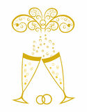 Champagne glasses.Golden wedding celebration Stock Image