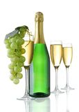 Champagne glasses and grapes Royalty Free Stock Image
