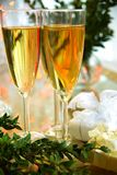 Champagne in glasses and green twig Royalty Free Stock Photos