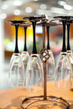 Champagne glasses. Hanging on metal holder Royalty Free Stock Photography