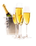 Champagne glasses with ice bucket on white Royalty Free Stock Image