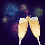 Champagne Glasses. An illustration of two champagne glasses to toast with fireworks Royalty Free Stock Photo