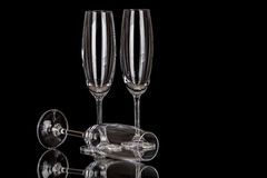 Champagne glasses isolated on black Stock Photography
