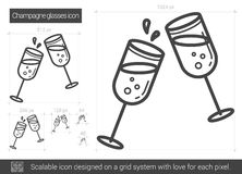 Champagne glasses line icon. Champagne glasses vector line icon isolated on white background. Champagne glasses line icon for infographic, website or app Stock Illustration