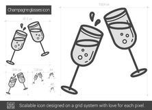 Champagne glasses line icon. Champagne glasses vector line icon isolated on white background. Champagne glasses line icon for infographic, website or app Royalty Free Illustration