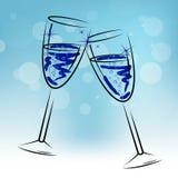 Champagne Glasses Means Beverage Fun y enhorabuena Imágenes de archivo libres de regalías