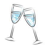Champagne Glasses Means Sparkling Wine och beröm Arkivbilder