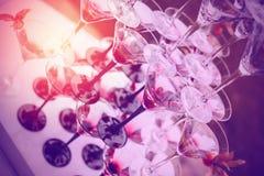 Champagne Glasses med färgcoctailar Royaltyfria Bilder