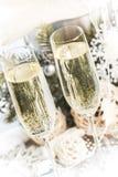 Champagne Glasses med jul/nytt år Royaltyfri Foto
