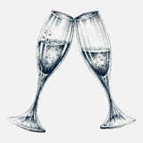 Champagne glasses. New Year`s party design Royalty Free Stock Photos