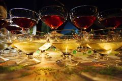 Champagne glasses at night Royalty Free Stock Photos