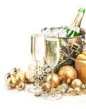 Champagne Glasses och flaska med jul Arkivbild