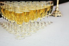 Champagne Glasses On Table Royalty Free Stock Image