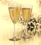 Champagne glasses. Over abstract bokeh background. 3d rendering image Royalty Free Stock Image