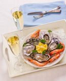 Champagne glasses, oysters shell with shrimp on serving tray Royalty Free Stock Photos