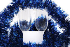 Champagne glasses. With a plastic card for the new year Royalty Free Stock Photo