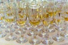Champagne Glasses Ready To Be tjänade som Fotografering för Bildbyråer