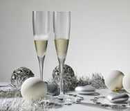 Champagne glasses ready to bring in the New Year royalty free stock image