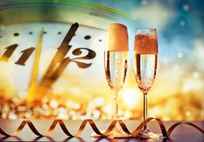 Champagne glasses ready to bring in the New Year Royalty Free Stock Photography