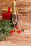 Champagne glasses ready to bring in  New Year Stock Image