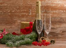 Champagne glasses ready to bring in  New Year Royalty Free Stock Image