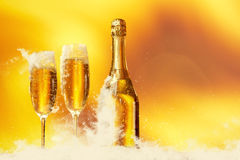 Champagne glasses ready to  New Year Royalty Free Stock Photos