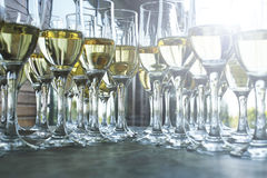 Champagne glasses for reception event Royalty Free Stock Photography