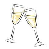 Champagne Glasses Represents Sparkling Wine ed alcool Fotografia Stock Libera da Diritti