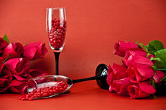 Champagne glasses and roses Royalty Free Stock Photos