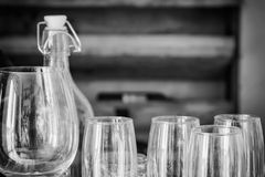 Champagne glasses in a row. black and white tone. Vintage filter Royalty Free Stock Images