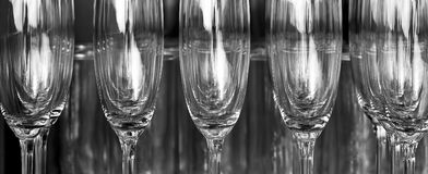 Champagne glasses in rows Stock Photos