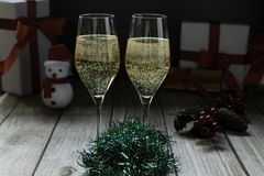 Champagne glasses and Santa stock photography