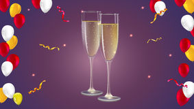 Champagne glasses with serpentine and confetti on dark background. Champagne with bubbles in a wineglass, yellow and red hearts like Inflatable balloons dark Stock Images